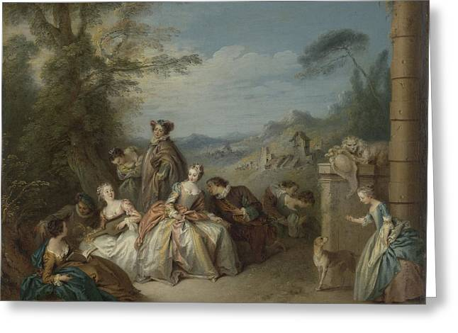 Fête Galante In A Landscape, Jean Baptiste François Pater Greeting Card by Litz Collection