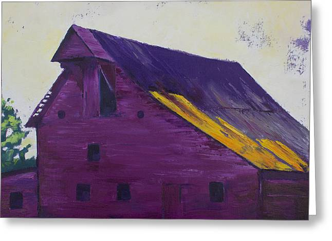 Fuchsia Barn Greeting Card by Kristin Whitney