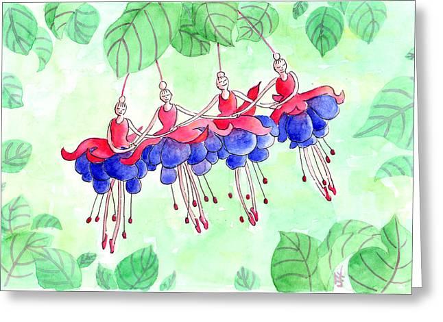 Fuchsia Pas De Quatre Greeting Card by Julie  Hutchinson