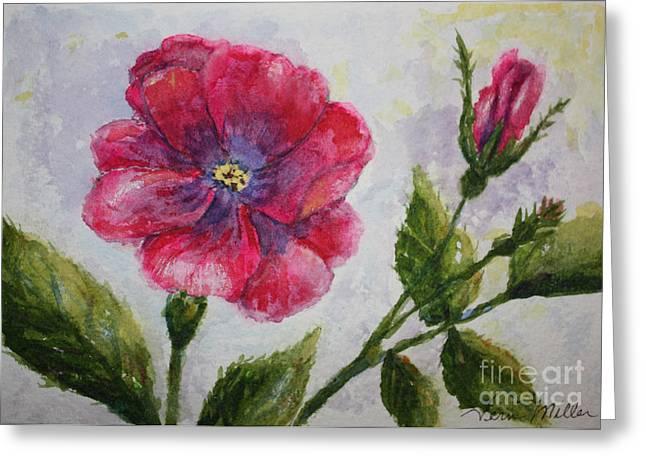 Fuchsia Rose And Bud Greeting Card by Terri Maddin-Miller