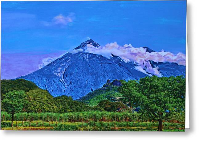 Greeting Card featuring the painting Fuego Volcano Guatamala by Deborah Boyd