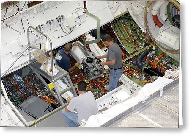 Fuel Cell Removal From Space Shuttle Greeting Card by Glenn Benson/nasa