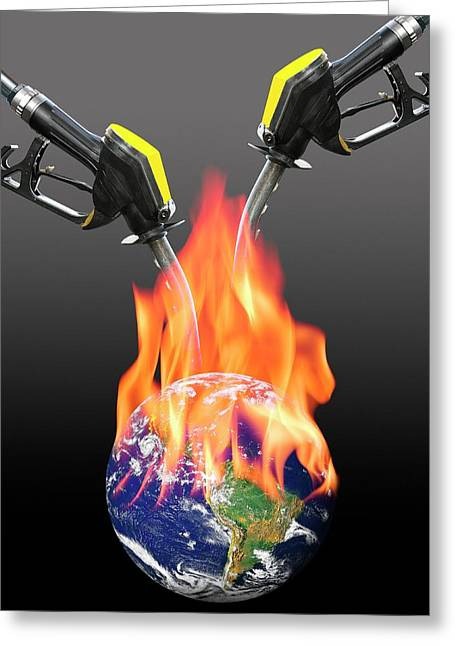 Fuelling Global Warming Greeting Card by Victor De Schwanberg