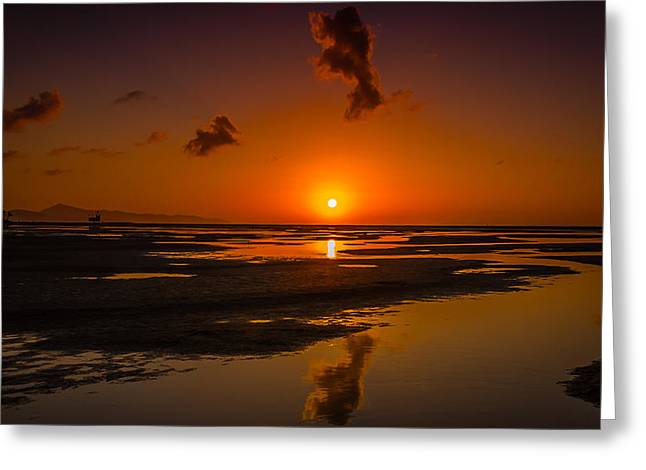 Fuerteventuera Beach Sunrise Reflections Greeting Card