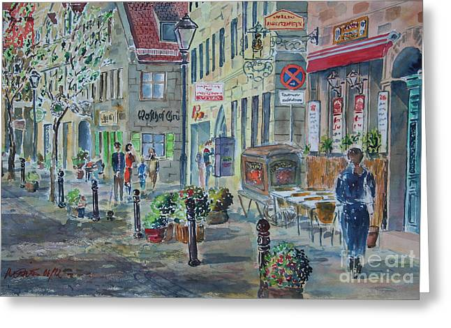 Greeting Card featuring the painting Fuerth Gustavstrasse by Alfred Motzer