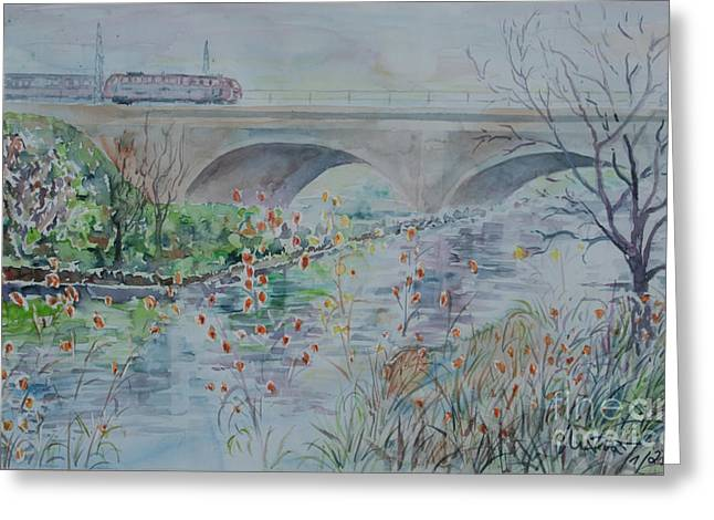 Greeting Card featuring the painting Fuerth Seven Arch Bridge Siebenbogenbruecke  by Alfred Motzer