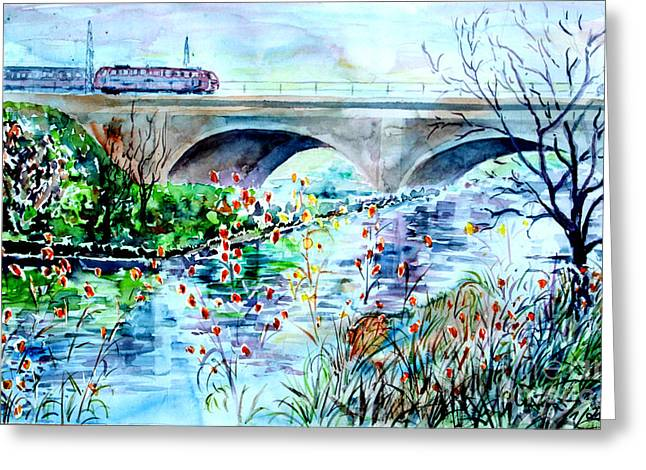 Greeting Card featuring the painting Fuerth Seven Arches Bridge by Alfred Motzer