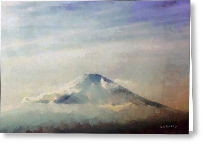 Greeting Card featuring the painting Fuji Among The Clouds by Kai Saarto