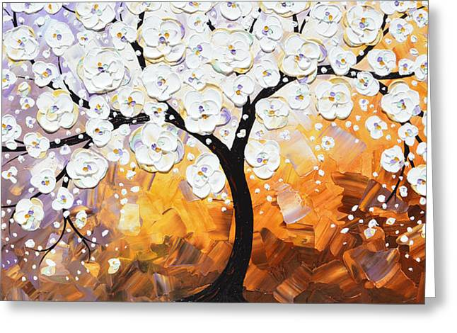 Full Bloom - White Blossoming Cherry Tree Greeting Card