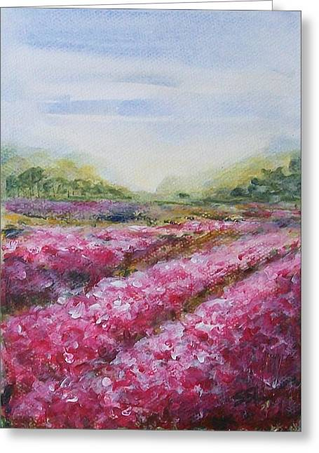 Greeting Card featuring the painting Full Bloom by Jane  See