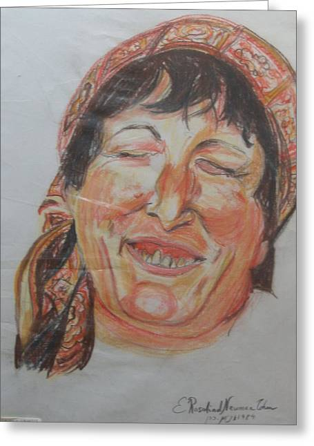 Full Bodied Laughter Greeting Card by Esther Newman-Cohen