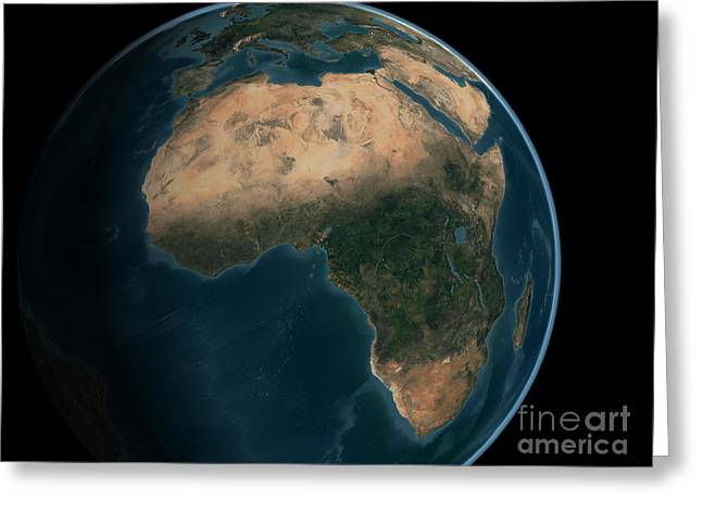 Full Earth From Space Above The African Greeting Card by Stocktrek Images