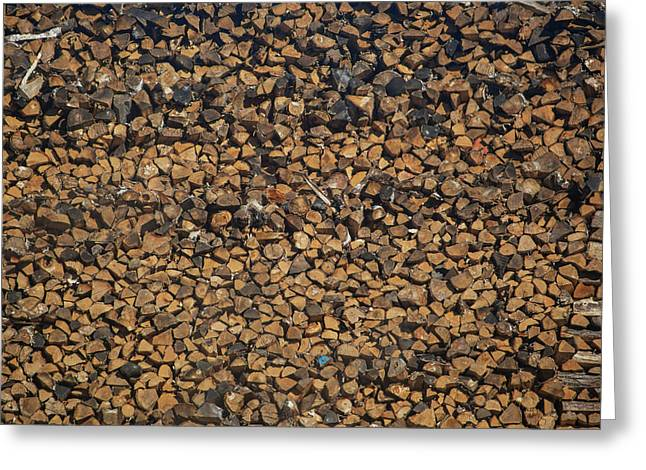 Full Frame Shot Of Firewood Pile Greeting Card by Panoramic Images