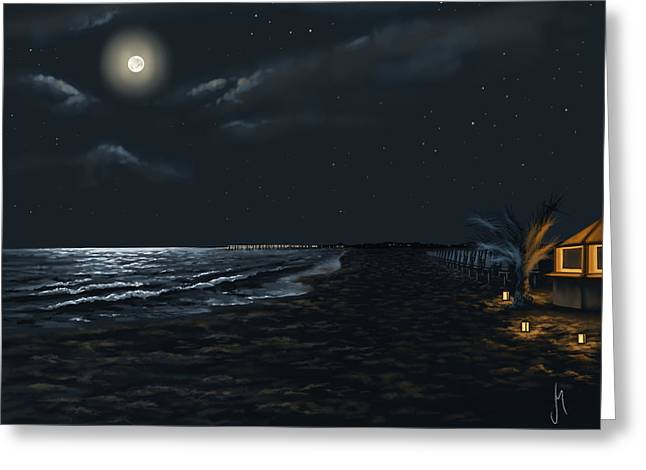 Full Moon Above The Mediterranean Sea Greeting Card by Veronica Minozzi