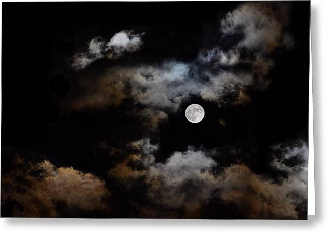 Full Moon After The Storm Greeting Card