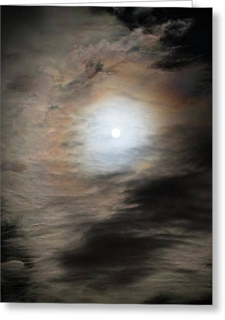 Full Moon And Clouds Greeting Card by Chris Madeley