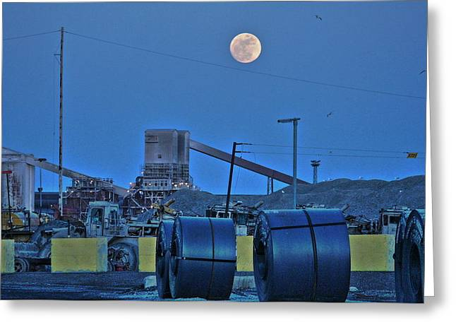 Full Moon And Steel Coils Greeting Card by Al Shields