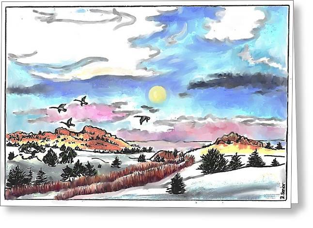 Full Moon And Wild Geese Greeting Card by Dawn Senior-Trask