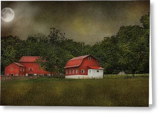 Full Moon At Buffalo Hollow Farm Greeting Card