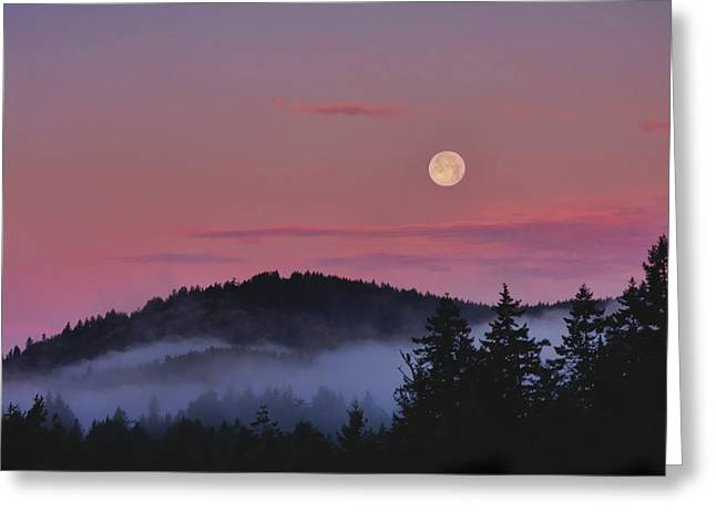 Full Moon At Dawn Greeting Card by Peggy Collins