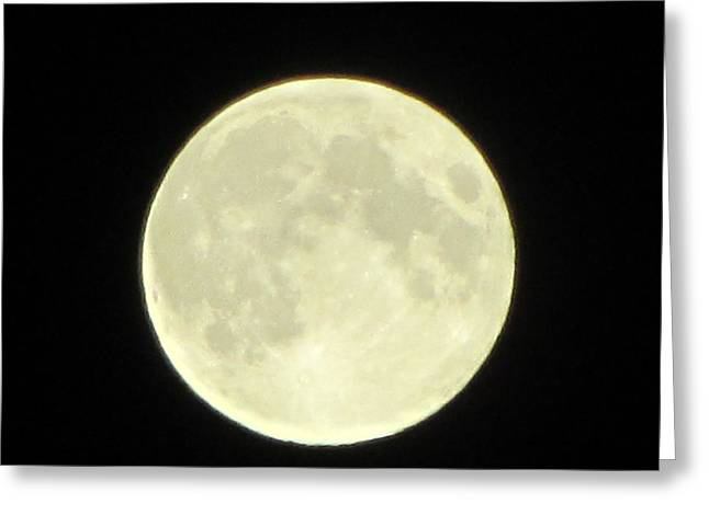 Full Moon Axis Greeting Card by Debbie Nester