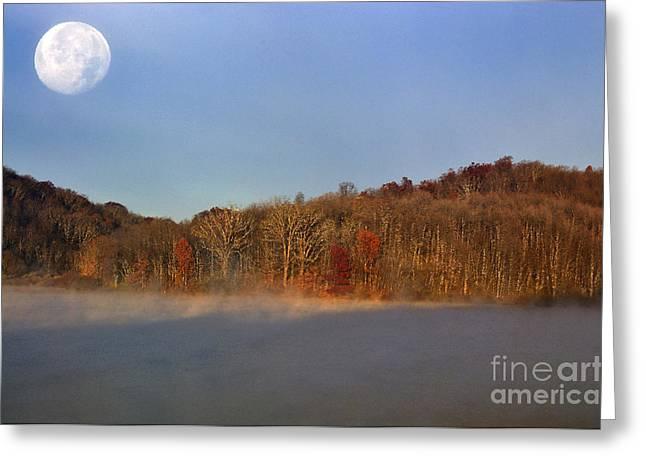 Full Moon Big Ditch Lake Greeting Card by Thomas R Fletcher