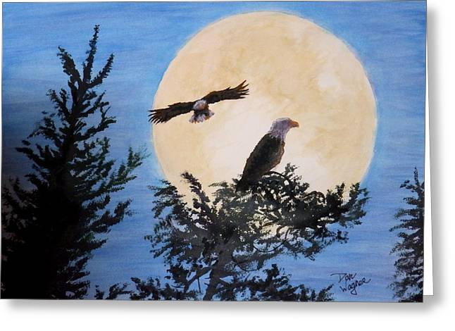 Full Moon Eagle Flight Greeting Card