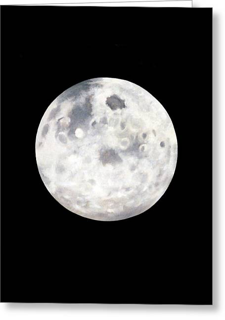 Full Moon In Black Night Greeting Card by Janice Dunbar