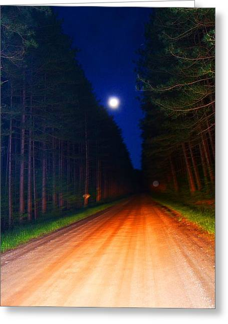 Full Moon In Forest Greeting Card by Valarie Davis