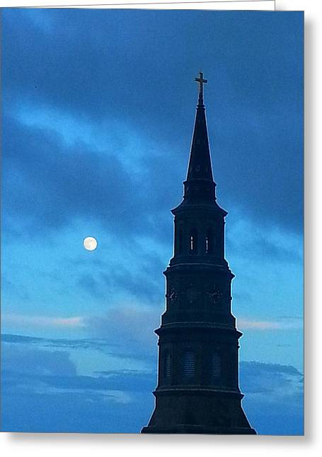 Greeting Card featuring the photograph Full Moon In The Holy City by Joetta Beauford