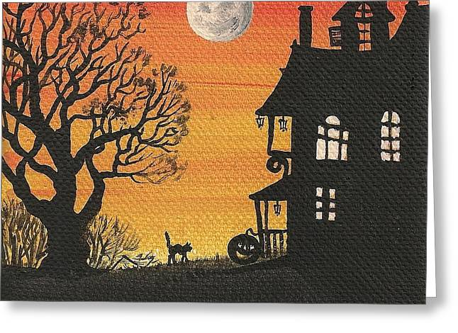 Full Moon Greeting Card by Margaryta Yermolayeva