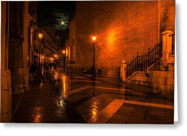 Full Moon Night In Malaga. Spain Greeting Card