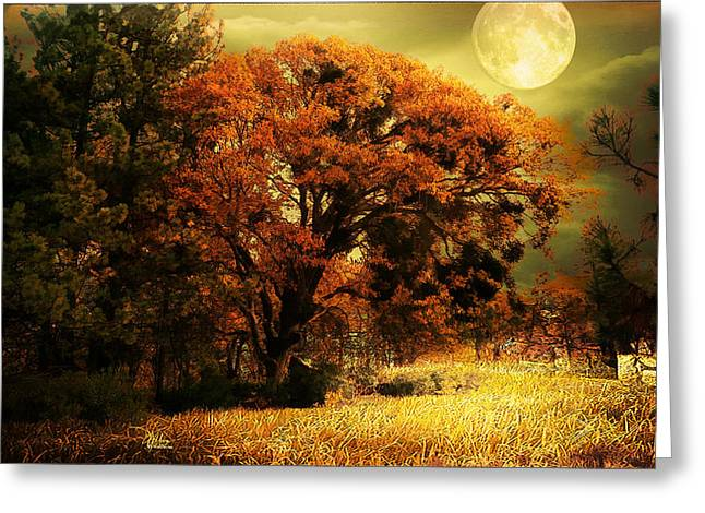 Full Moon Oak Greeting Card