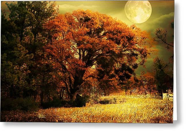 Full Moon Oak Greeting Card