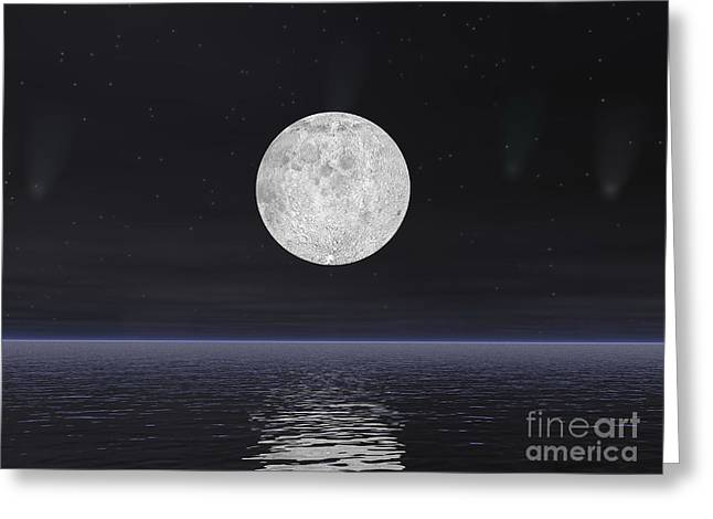 Full Moon On A Dark Night With Stars Greeting Card