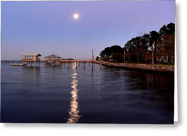 Full Moon On The Bay Greeting Card