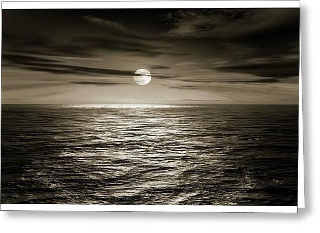 Full Moon Over An Ocean Greeting Card by Detlev Van Ravenswaay
