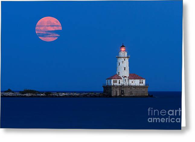 Full Moon Over Chicago Harbor Lighthouse Greeting Card