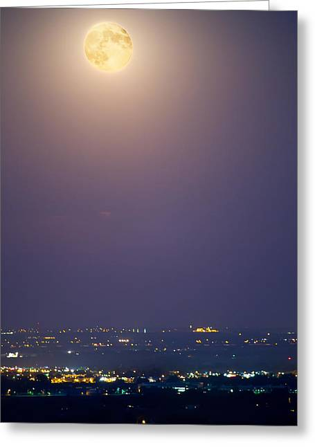 Full Moon Over City Lights Greeting Card