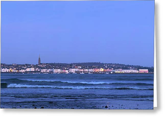 Full Moon Over Coastal Town Greeting Card