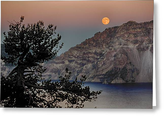 Full Moon Over Crater Lake Greeting Card by Gary Neiss