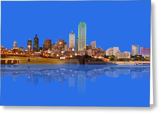 Full Moon Over Dallas Reflected Greeting Card