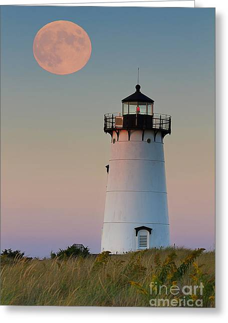Full Moon Over Edgartown Lighthouse Greeting Card by Katherine Gendreau