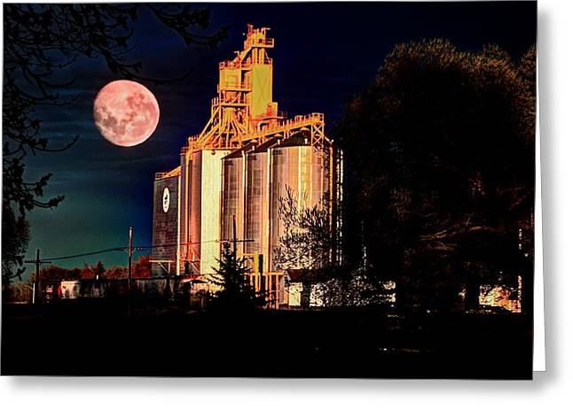 Full Moon Over Elevator Greeting Card