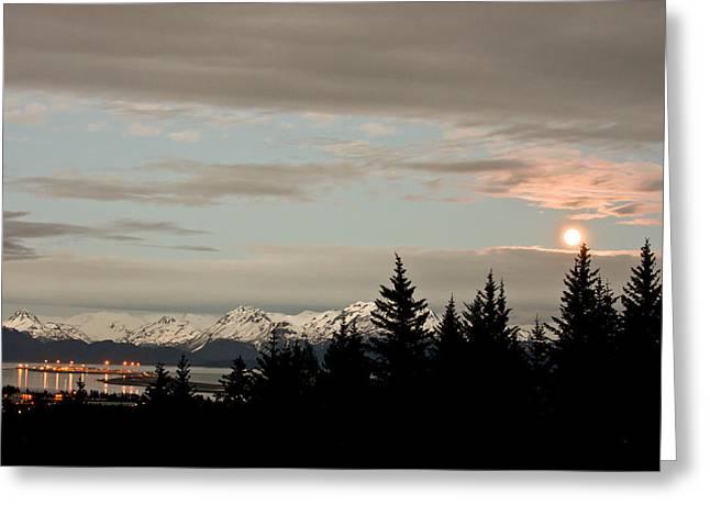 Full Moon Over Homer Alaska Greeting Card