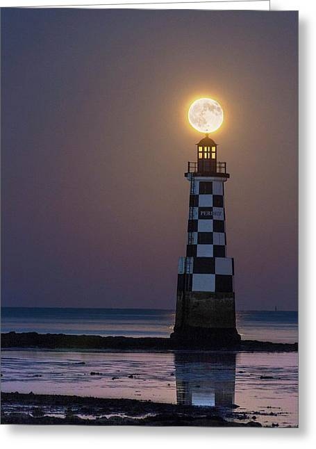 Full Moon Over Lighthouse Greeting Card by Laurent Laveder