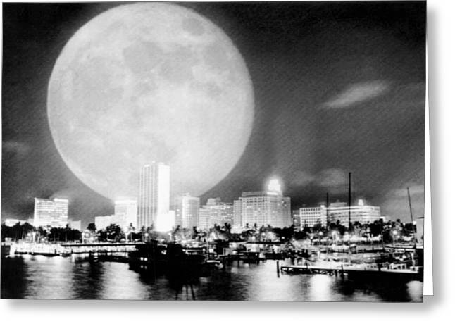 Full Moon Over Miami Greeting Card by Charles Trainor
