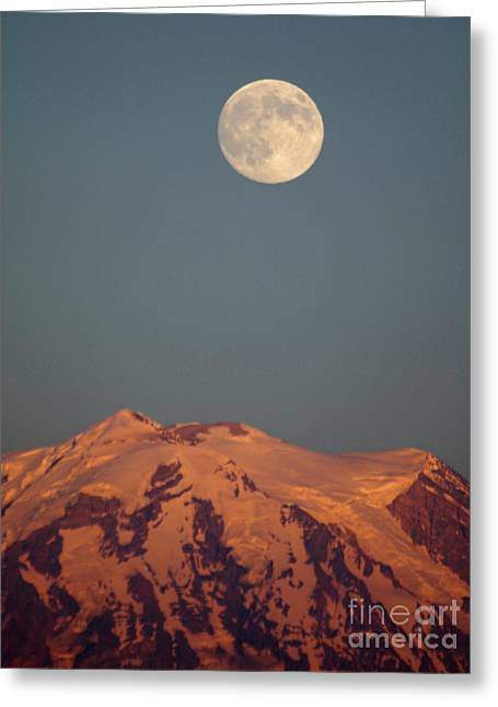 Full Moon Over Mount Rainier Greeting Card