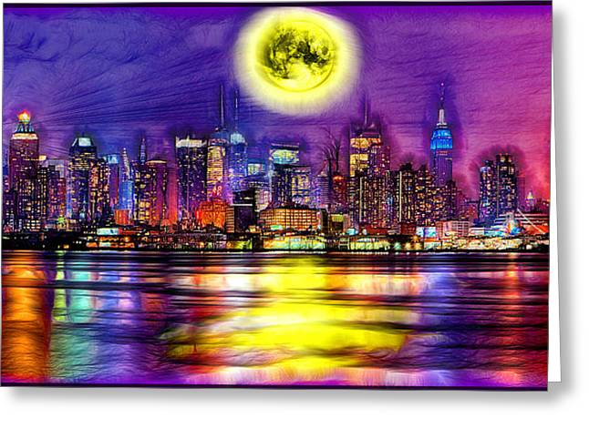Full Moon Over New York City  Greeting Card