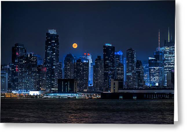 Full Moon Over New York City Greeting Card by Linda Karlin